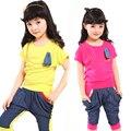 Meninas Conjuntos de Roupas de Verão Patchwork Crianças Roupas Casuais Definir Manga Curta T-Shirt + Calças Cross-Calças Definidos infantil Vestido de Marca