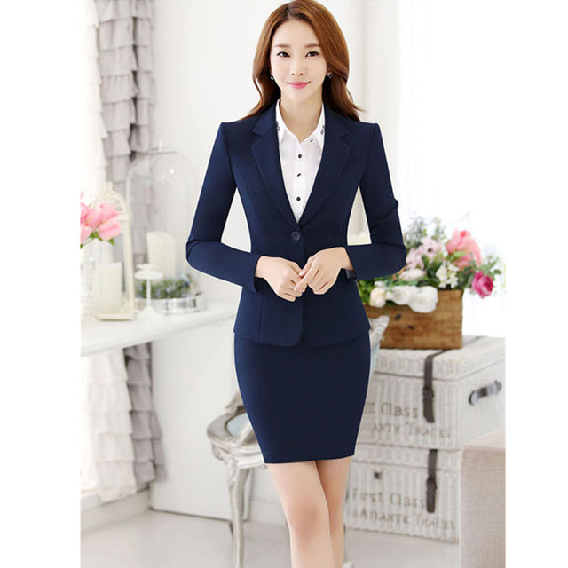 Women Skirt Suits Black Navy Elegant Office Lady Blazer Suit Formal Business Female Workwear