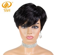 SSH Short Human Hair Wigs Straight Non Remy Hair Part Wig for Black/White Women