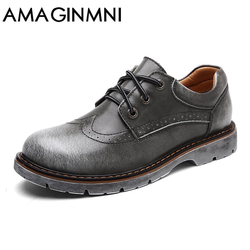 2018 New Brand Handmade Breathable Men's Oxford Shoes Top Quality Dress Shoes Men Flats Fashion Genuine Leather Casual Shoes Men