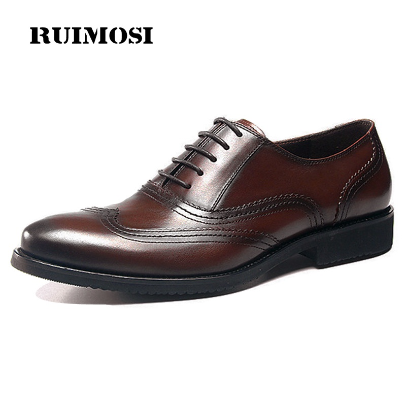 RUIMOSI Vintage Man Wing Tip Brogue Shoes Genuine Leather Formal Dress Oxfords Round Toe British Bridal Men's Footwear GD29