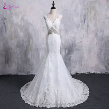 Waulizane V-Neck Mermaid Wedding Dresses Bride Dresses