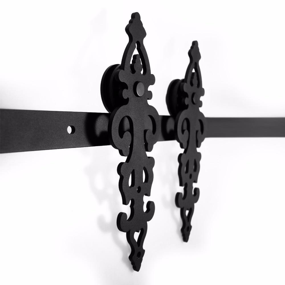 LWZH DIY Carton Steel Sliding Barn Door Hardware Kit Black Symmetry Blossom Shaped Track Roller for Interior Sliding Single Door