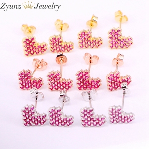 Image 2 - 10Pairs, 10*9mm, Gold filled Jewelry Earrings Heart Shape rose red cz micro pave Stud Earring