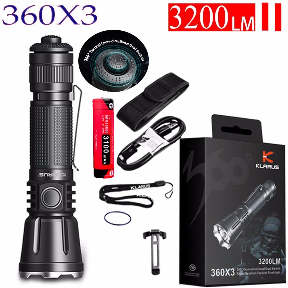 Klarus 360X3 360 degrees Tactical Flashlight CREE XHP70.2 max 3200 lumen throw 283 meter Micro-USB Charging Port outdoor torch Люмен