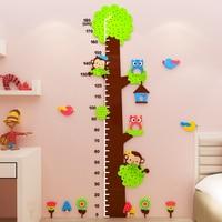 Big Tree Children Height Sticker Wall Stickers for kids rooms Bedroom Wall Art Decor Cartoo 3D Acrylic Sticker Baby Height Ruler