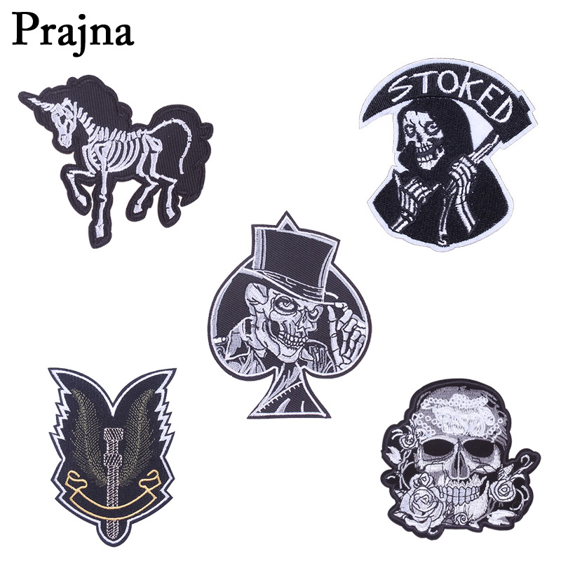 Small//Mini Skull White//Skeleton//Halloween Iron on Applique//Embroidered Patch