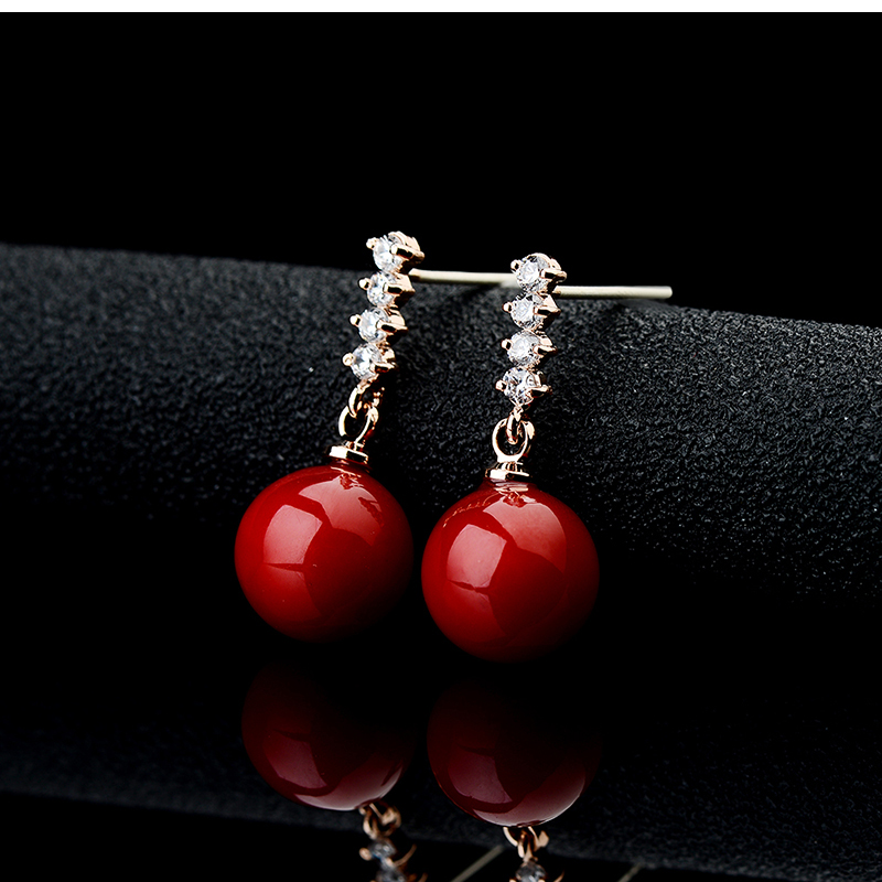 Ks Gadgets Natural Red Artificial Coral Earrings Brincos Jewerly