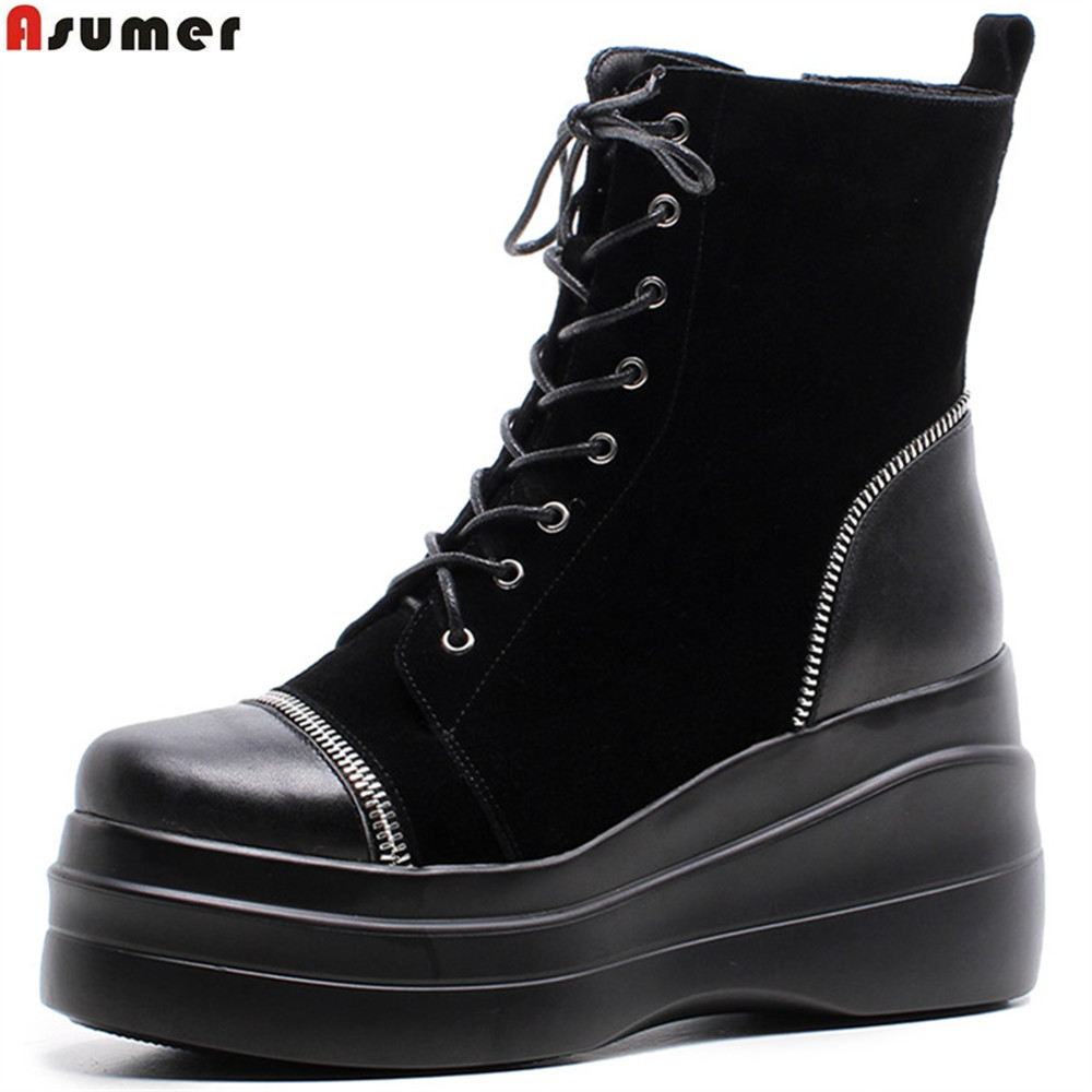 ASUMER black fashion round toe zipper ladies shoes platform wedges boots cross tied women suede leather ankle ankle black solid cross tied winter martain boots zipper design suede british style botas femeninas walkway casual shoes women