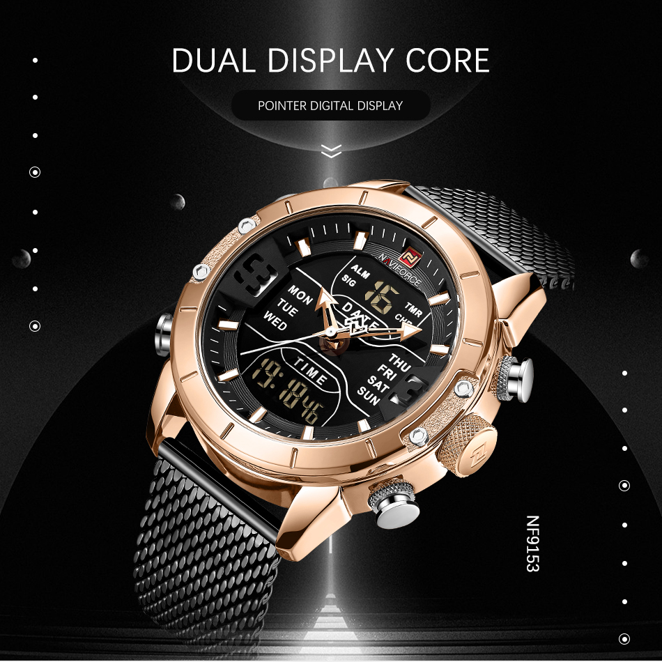 Image 5 - NAVIFORCE New Top Luxury Brand Stainless Steel Sports Men Watch Army Military Dual Display Waterproof Watches relogio masculino-in Quartz Watches from Watches