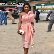 b9eefaf9892 Pink short Homecoming Simple Dress Modest Tea Length One Shoulder Special  Occasion Graduation Dresses Formal Women Cocktail Gown