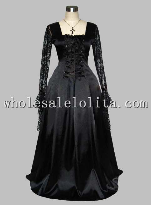 В готическом стиле, черного цвета, на шнуровке, с помощью Шелкового трафарета, как в викторианском стиле платье эпохи, с кружевами, одежда с длинным рукавом - Цвет: Черный