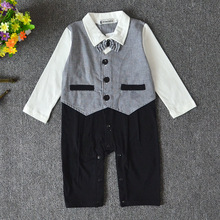 New 2017 autumn baby boy gentleman romper