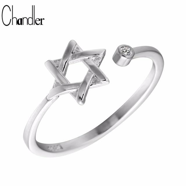 Chandler Vintage 925 Sterling Silver David Star Ring For Women Signet Ring Adjustable Friendship Best Friend Graduation Gifts