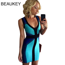 Blue Color Block Geometric  Bodycon Celebrity Bandage Dress Elastic Knitted Short Party Dress