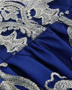 Image 5 - Dangal חתונת אורח שמלת Eveving מסיבת פרח ילדה קצר תחרה Midi שמלה עם רקמת נצנצים
