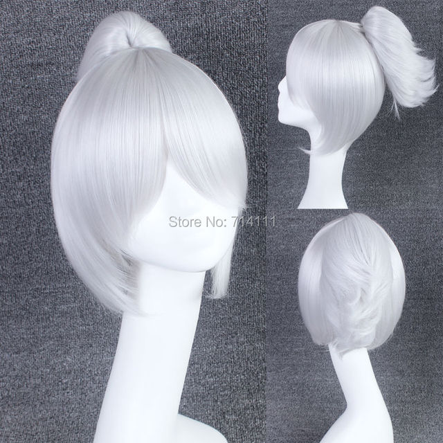 LOL Riven Short Silvery Grey Straight Fluffy Hair With Ponytail Synthetic Fiber Anime Cosplay Wig