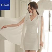Sexy white ribbon sleeveless office dress women summer casual v neck bodycon sheath pencil Party mini dress plus size