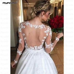 Image 4 - Vestido דה Noiva 2 ב 1 ארוך שרוולי חתונת שמלות אשליה חזור תחרת אפליקציות כלה שמלת כדור שמלת הכלה RW03