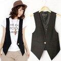 2015 New High quality Women's Causal Vest V-neck Sleeveless Jacket solid color female's slim Blazer