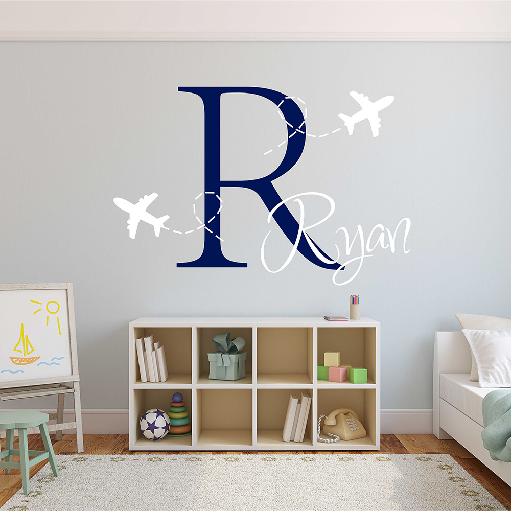 Airplane Wall Decal Airplane Boys Monogram Sticker Personalized Boy Name Monogram Wall Sticker For Children Room 673C-in Wall Stickers from Home u0026 Garden on ... & Airplane Wall Decal Airplane Boys Monogram Sticker Personalized Boy ...