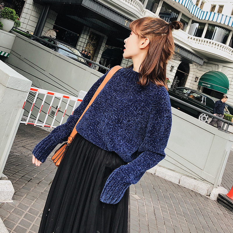 BGTEEVER O-neck Thicken Knitted Pullovers Full Sleeve Velvet Sweater Women Casual Loose Sweater 2019 Autumn Winter Female Jumper