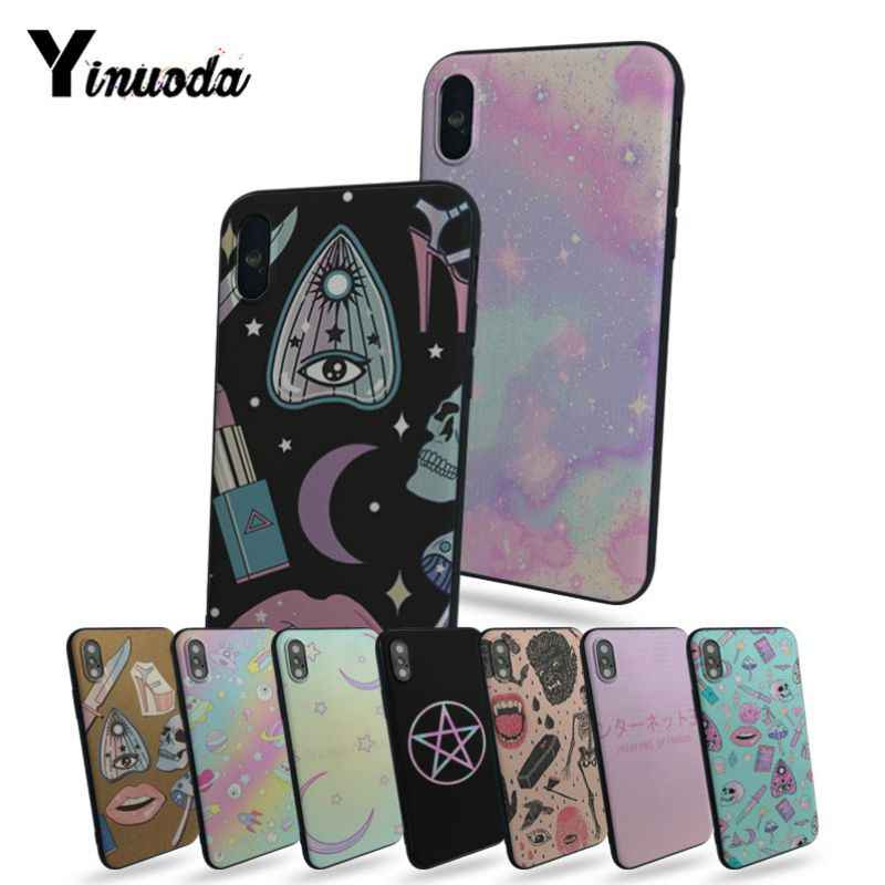 Yinuoda Girly Pastel Witch Goth Hot selling fashion design cell Case For Apple iphone 7 7plus X 8 8plus 6s 6 6plus 5 5s 5c