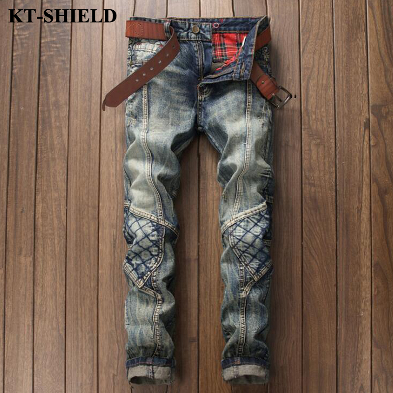 High quality men ripped jeans brand design fashion denim pants for man slim fit trousers vintage