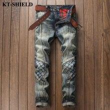 Высокое качество мужчины рваные джинсы марка дизайн мода брюки джинсовые человек slim fit брюки винтаж байкер проблемных джинсы для мужчин кастрюли