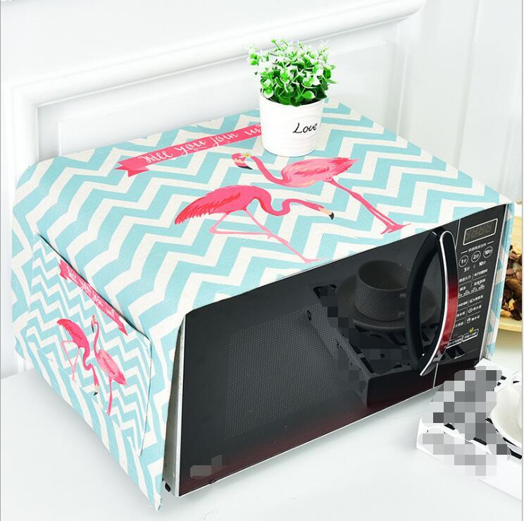 Flamingo Universele Verdikking Katoen En Linnen Magnetron Cover Oven Cover Doek Handdoek Stof En Olie Bescherming Cover Laatste Mode