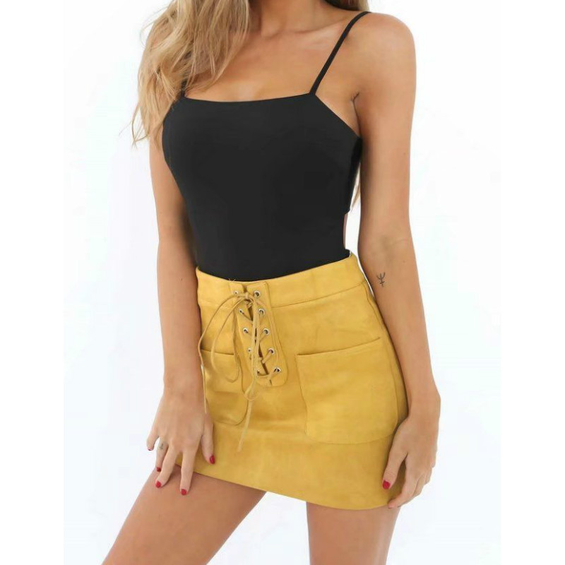 <font><b>Sexy</b></font> Leather Suede Pencil Skirt Women High Waist Lace Up Package <font><b>Hip</b></font> Cross Mini Skirts Womens Zipper Split Bodycon Short Skirts image