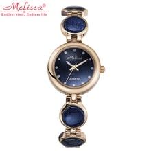 Melissa Woman Girls's Watch Hours Goldstone Vogue Costume Chain Bracelet Luxurious Rhinestones Lady Birthday Christmas Reward Field