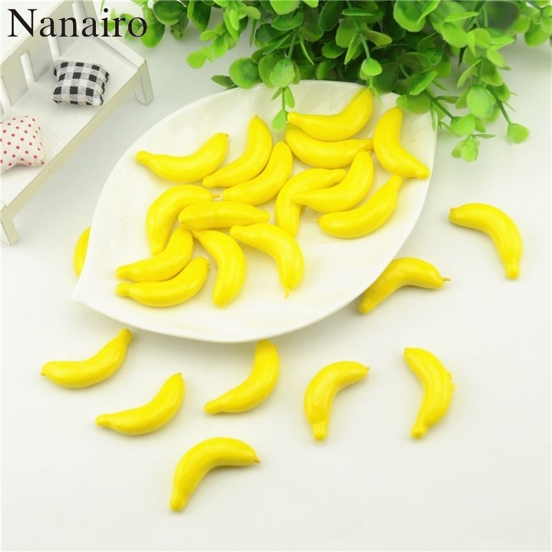 Cheap 30pcs 4.5cm Banana Mini Artificial Fake Foam Fruits and Vegetables Berries Flowers For Wedding Christmas Tree Decoration