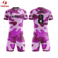 Sublimation Printing Customizing 100% Polyester Soccer Uniform Set V Neck Soccer Jersey