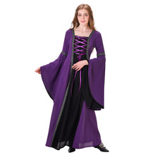 Medieval Costume Medieval Renaissance Wedding Dress Gown Purple Black Lace Linen Medieval Cosplay Costume