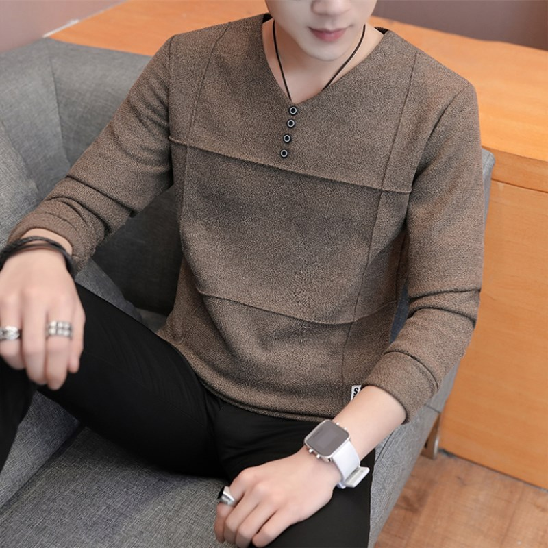 2019 Autumn New V-neck Sweater Male Youth Trend Self-cultivation Sweater