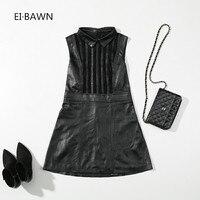 2018 Новое весеннее платье Для женщин из натуральной кожи Офисные женские туфли черный Винтаж Элегантное платье без рукавов корейский стиль