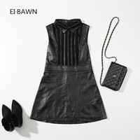 2018 New Spring Dress Women Genuine Leather Office Lady Black Vintage Elegant Dress Sleeveless Korean Style Top Quality Dress