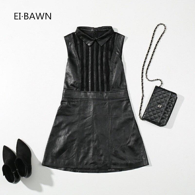 2018 Nouveau Printemps Robe Femmes Véritable Dame de Bureau En Cuir Noir Vintage Élégant Robe Sans Manches Coréenne Style Top Qualité Robe