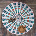 Indian Mandala Round Roundie Beach Throw Green Peacock Printed Tapestry Hippy Boho Gypsy Polyester Tablecloth Beach Towel