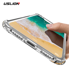 USLION Transparent Phone Case For iPhone X Shockproof Armor Clear Hard PC Back Cover Protection Cases Capa For iPhoneX 10