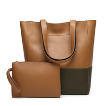 2017 New Bucket Women Handbags Shopping Tote Bags For Large Capacity PU Leather Panelled Composite Shoulder