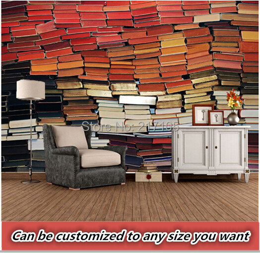 Custom retro wallpaper,The Library Shelves Books,3d stereoscopic wallpaper for living room bedroom sofa waterproof PVC wallpaper the swimmind pool library
