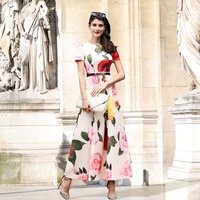 DF Plus Size Dress Xxxl Women Summer Printed Flowers Long Dress Short Sleeves O Neck Dress