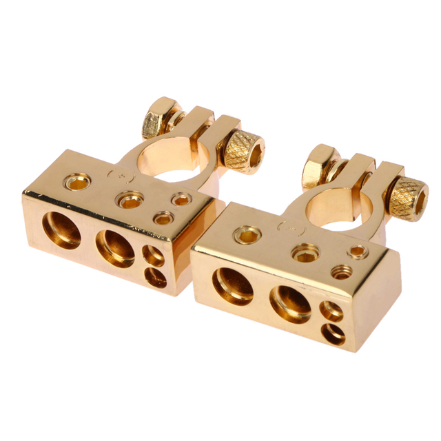 2PCS Gold Plated Car Auto Positive/Nagative Battery Terminal F 0/1 2 4 8 AWG Free Shipping
