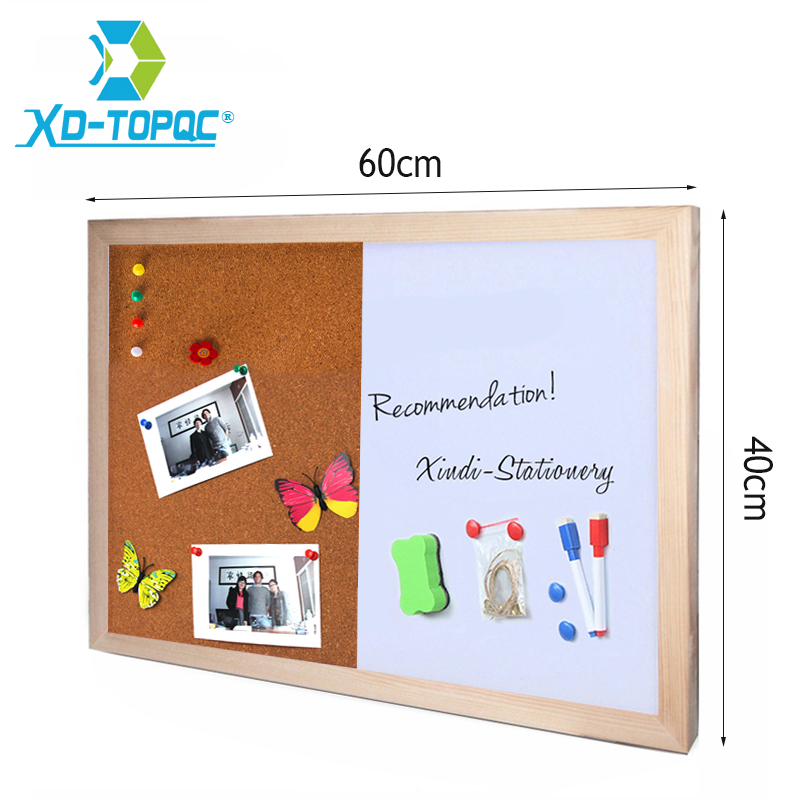 Pine Wood Combination Half Whiteboard Half Cork Board Kitchen Office Supplier 60*40cm Bullentin Message Boards Home Decorative
