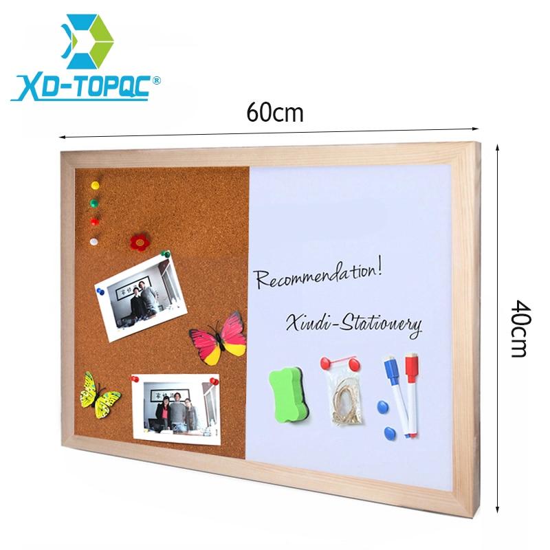Pine Wood Combination Half Whiteboard Half Cork Board Kitchen Office Supplier 60*40cm Bullentin Message Boards Home Decorative