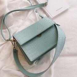 Marca de luxo feminino flip quadrado saco 2019 nova qualidade couro designer bolsa crocodilo padrão ombro mensageiro sacos
