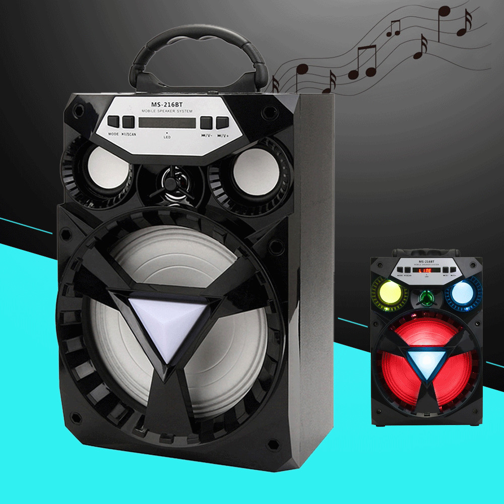 VOBERRY 216BT Outdoor Multimedia Bluetooth Wireless Portable Speaker Super Bass MP3 Music Subwoofer with USB/TF/AUX/FM Radio
