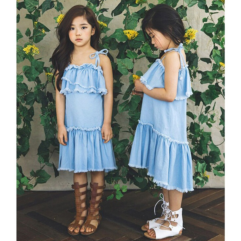 Ruffles Jeans Girls Princess Dress 2017 Brand Summer Children Dress for Kids Clothes Denim Long Teenage Baby Girls Dresses 2017 new fashion brand summer kids clothes children clothing girls dress baby kids princess dress summer denim holiday sundress